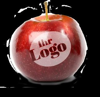Apfel mit Logo Gravur Laser als Werbeapfel von Äpfel in Form