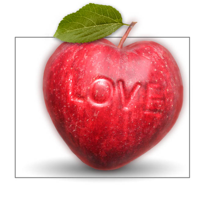 Apfel mit Herz Herzapfel in rot